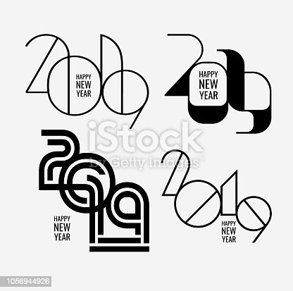 Abstract modern inscription Happy New Year 2019 Background  set for your Christmas designs. EPS 10 vector illustration, contains transparencies. High resolution jpeg file included.