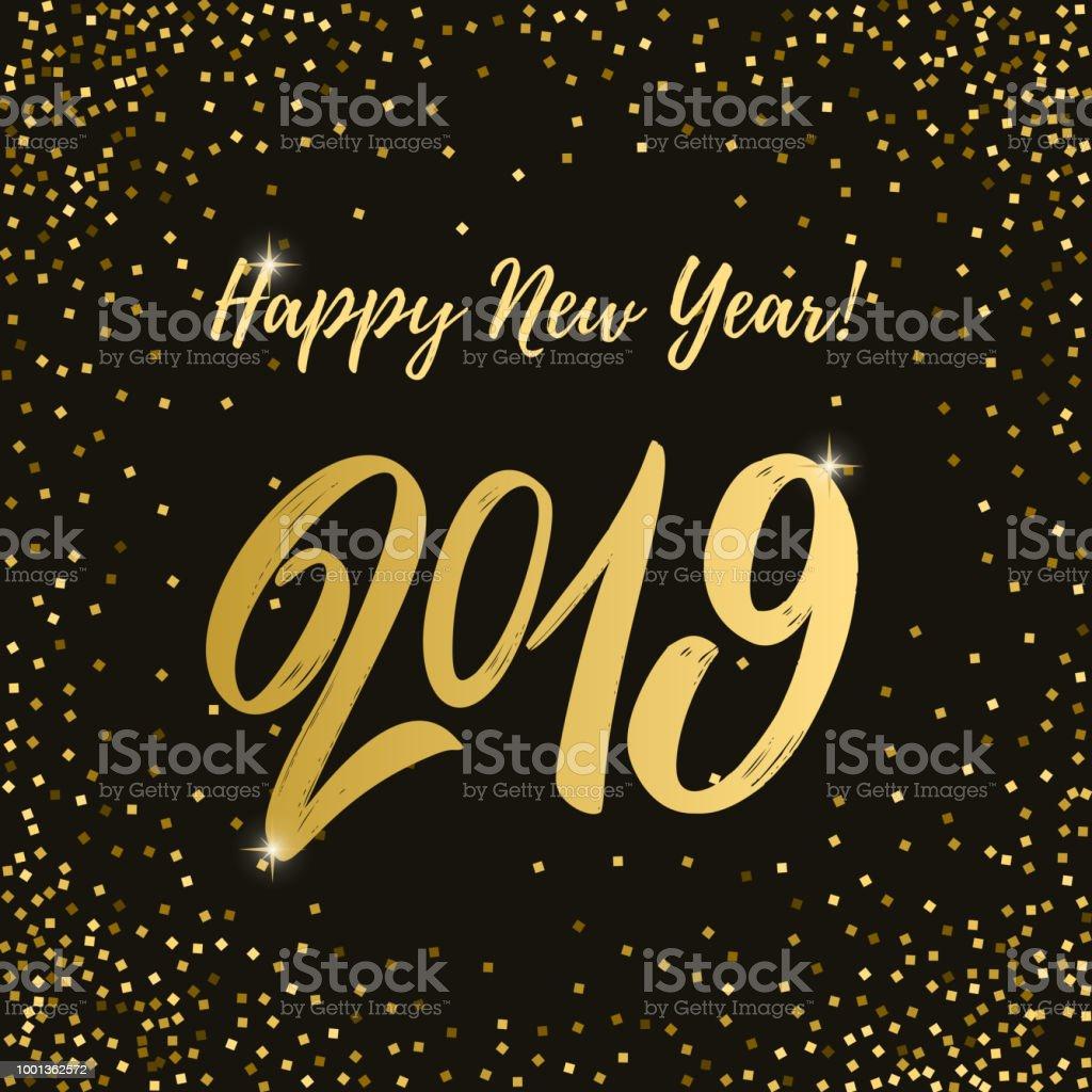 Ilustración De Feliz Año 2019 Frase De Letras Sobre Fondo