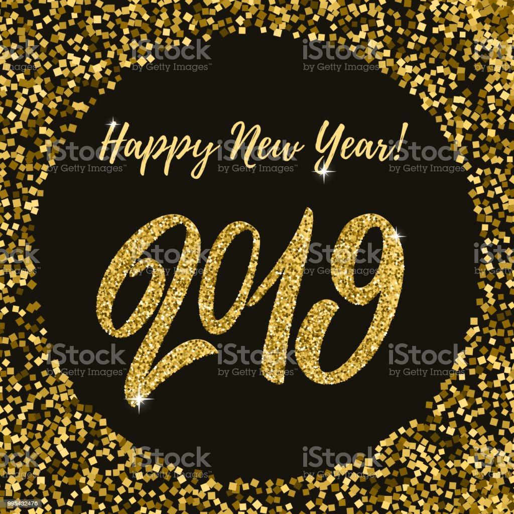 Ilustração De Feliz Ano Novo 2019 Frase De Rotulação De Fundo Escuro