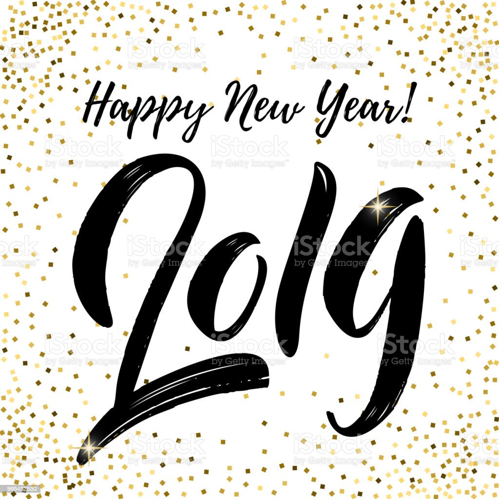Happy New Year 2019 Lettering Phrase On White Background With Golden ...