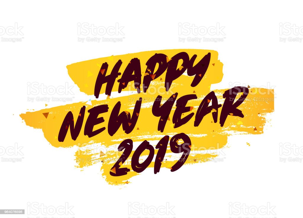 Happy New Year 2019. Lettering. - Royalty-free 2019 stock vector