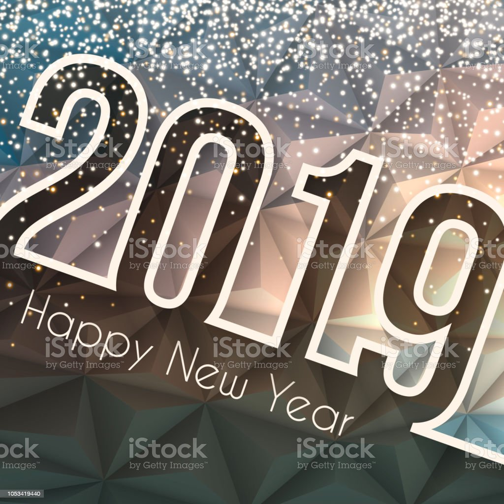 happy new year 2019 low poly with gold glitter abstract background royalty free
