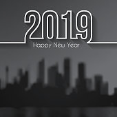 Happy new year 2019 on view of skyscrapers - Cityscape