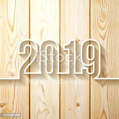 Happy new year 2019 with space for your text. Creative greeting card with a lit wooden wall. The layers are named to facilitate your customization. Vector Illustration (EPS10, well layered and grouped). Easy to edit, manipulate, resize or colorize. Please do not hesitate to contact me if you have any questions, or need to customise the illustration. http://www.istockphoto.com/portfolio/bgblue