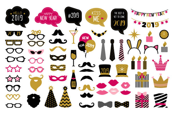 happy new year 2019 photo booth props - photo booth stock illustrations, clip art, cartoons, & icons