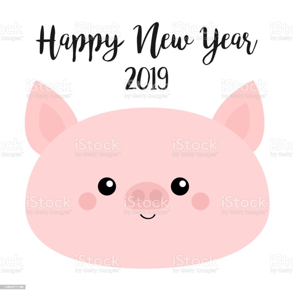 happy new year 2019 pig smiling face pink piggy piglet chinise symbol