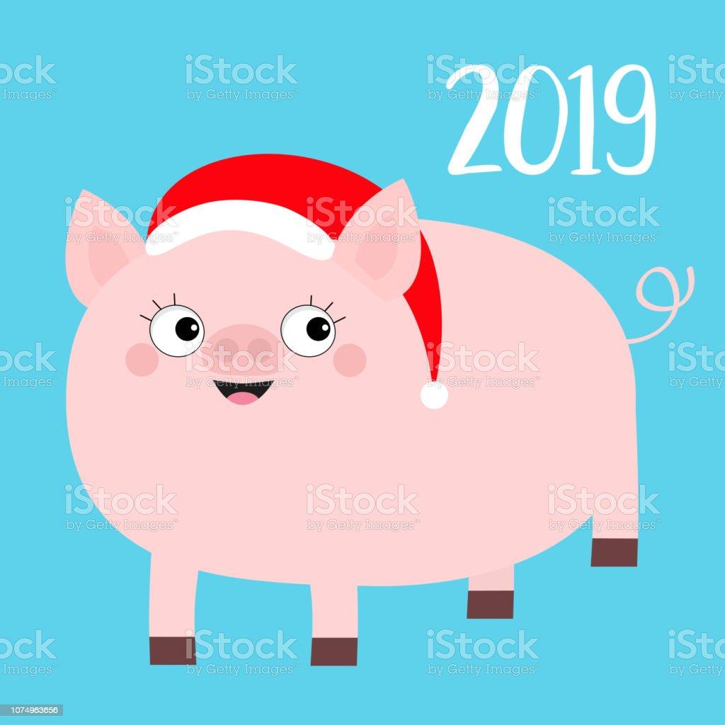 幸せな新しい年 2019 年豚の赤いサンタ帽子をかぶっています