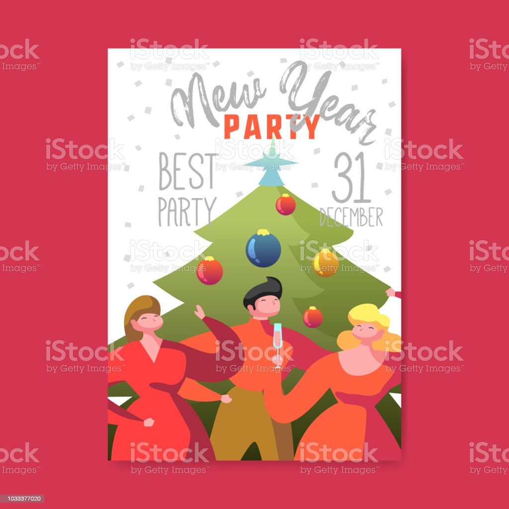 happy new year 2019 poster flat people characters celebrating party greeting card placard