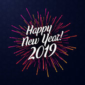 Happy New Year 2019 poster with pink spectrum firework. Vector background.
