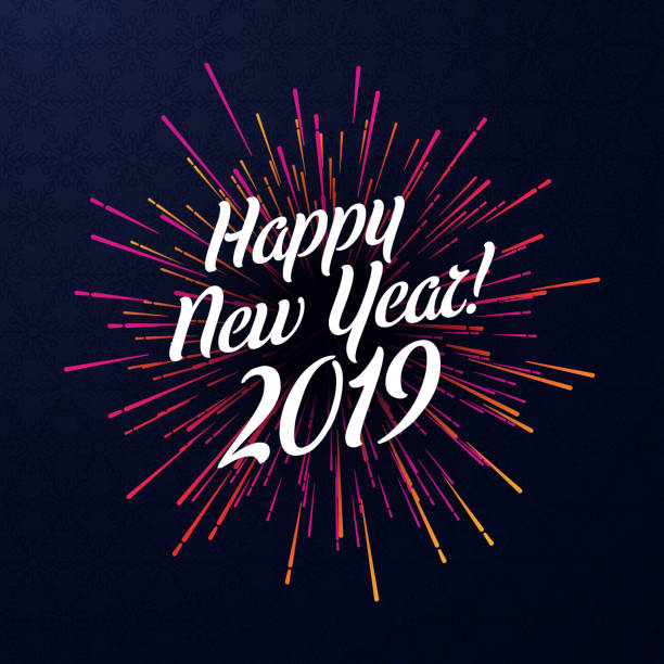 happy new year 2019 poster with pink firework. - new years stock illustrations