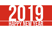 Happy new year 2019. Red and white greeting card or calendar cover template.