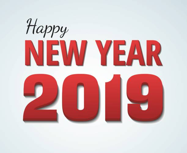 happy new year 2019 red text isolated on white background vector art illustration