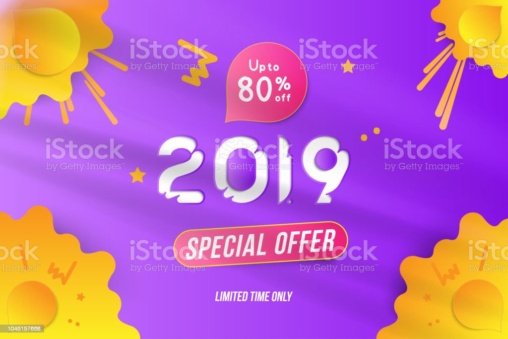 happy new year 2019 sale 80 banner with with special offer on yellow color background