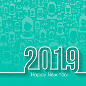 Happy new year 2019 with space for your text. Creative greeting card, with people background (seamless). The layers are named to facilitate your customization. Vector Illustration (EPS10, well layered and grouped). Easy to edit, manipulate, resize or colorize. Please do not hesitate to contact me if you have any questions, or need to customise the illustration. http://www.istockphoto.com/portfolio/bgblue