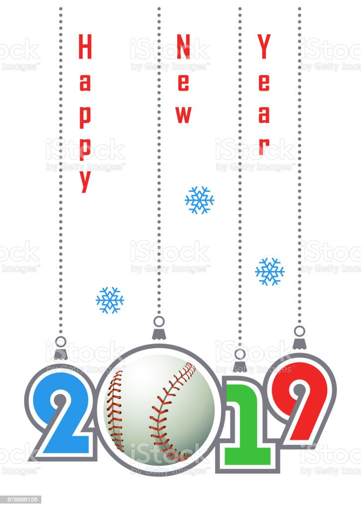 Happy New Year 2019! Sports greeting card with realistic baseball...