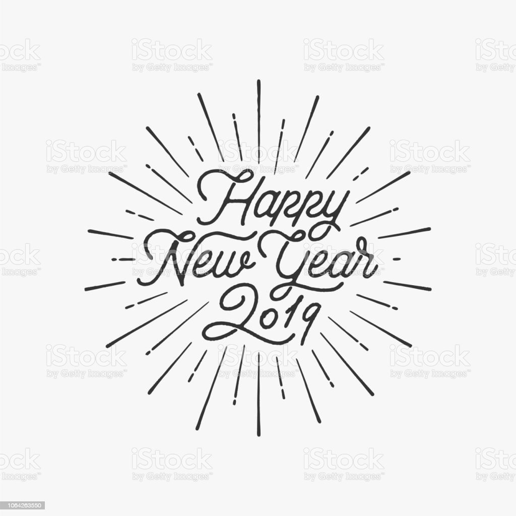 Happy New Year 2019 Starburst Gray. Vector illustration.