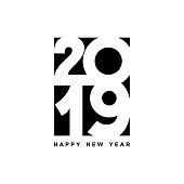 Happy New Year 2019 text design. Cover of business diary for 2019 with wishes. Brochure design template, card, banner. Vector illustration. Isolated on white background.