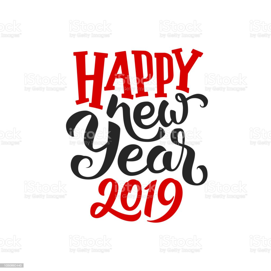 Happy New Year 2019 text isolated on white background. Greeting card design with typography for winter holidays season. Vector illustration vector art illustration