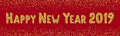 Happy New Year 2019 text. Gold glitter font. Golden inscription for  header,  poster, banner, flyer, web design. Editable font.  Vector illustration,eps 10.