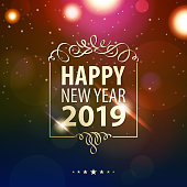 Celebrate the coming of New Year 2019 on the sparkle light background