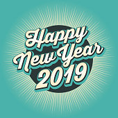 Vector of Happy New Year 2019  banner design with color starburst background..  This illustration is an EPS 10 file and contains transparency effects.