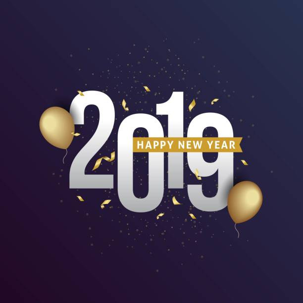 happy new year 2019 vector art illustration