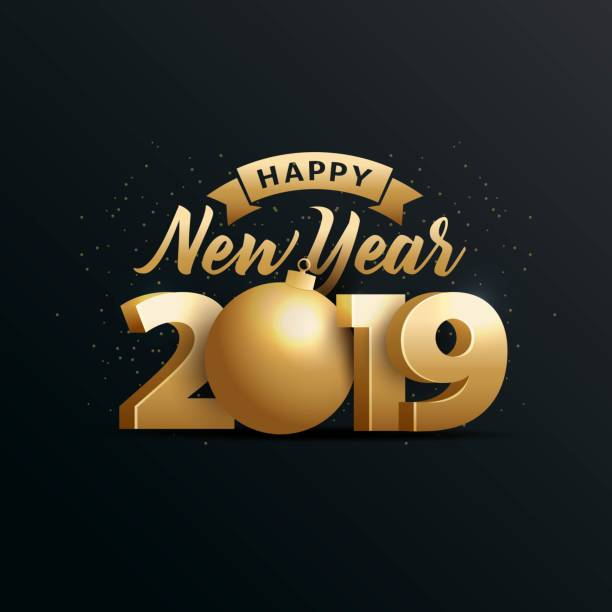happy new year 2019 - new years day stock illustrations
