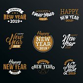 Happy New Year 2019 typographic emblems set