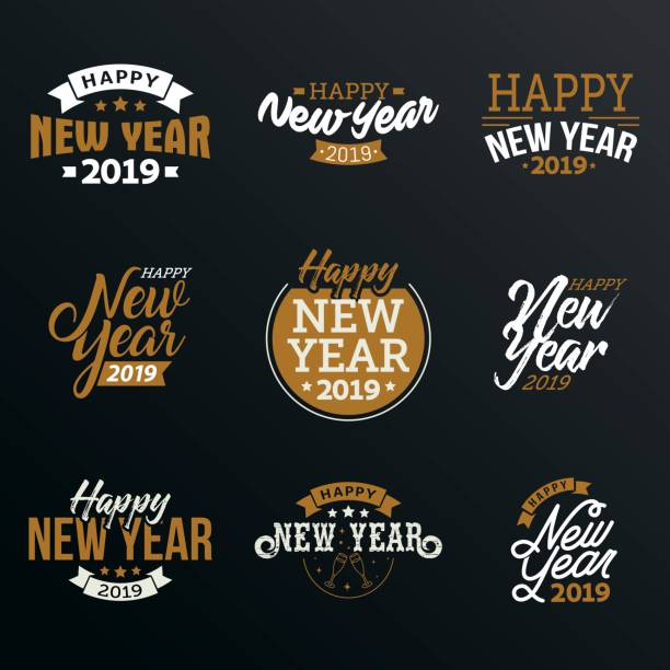 happy new year 2019 - new years eve stock illustrations, clip art, cartoons, & icons