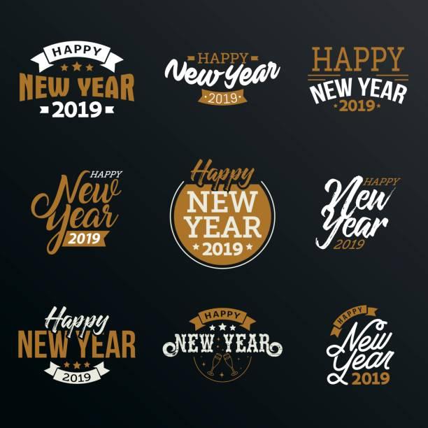 幸せな新しい年 2019 年 - 大晦日点のイラスト素材/クリップアート素材/マンガ素材/アイコン素材
