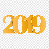 happy new year 2019 vector illustration 2019 on transparent background with shadow layers grouped