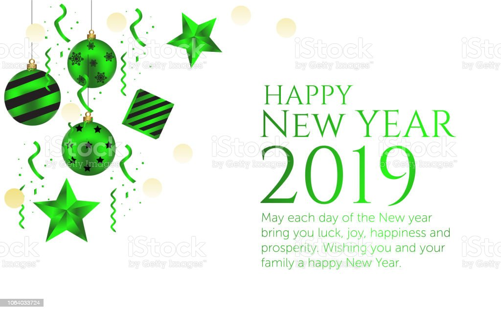 Happy new year 2019 white background and green black colors wish card stock vector art more - New years colors 2019 ...