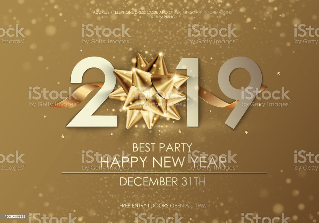 Happy New Year 2019 winter holiday greeting card design template. Party poster, banner or invitation gold glittering stars confetti glitter decoration. Vector background with golden gift bow vector art illustration