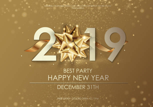 happy new year 2019 winter holiday greeting card design template. party poster, banner or invitation gold glittering stars confetti glitter decoration. vector background with golden gift bow - new years stock illustrations