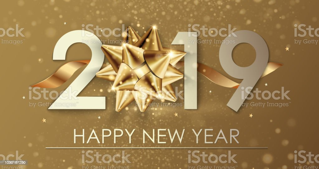 Happy New Year 2019 Winter Holiday Greeting Card Design Template