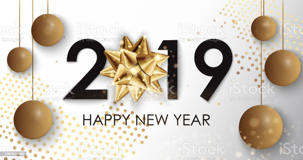 happy new year 2019 winter holiday greeting card design template party poster banner or