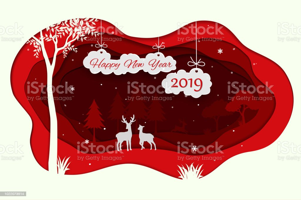 Happy new year 2019 with animals wildlife in winter and snowfall vector art illustration