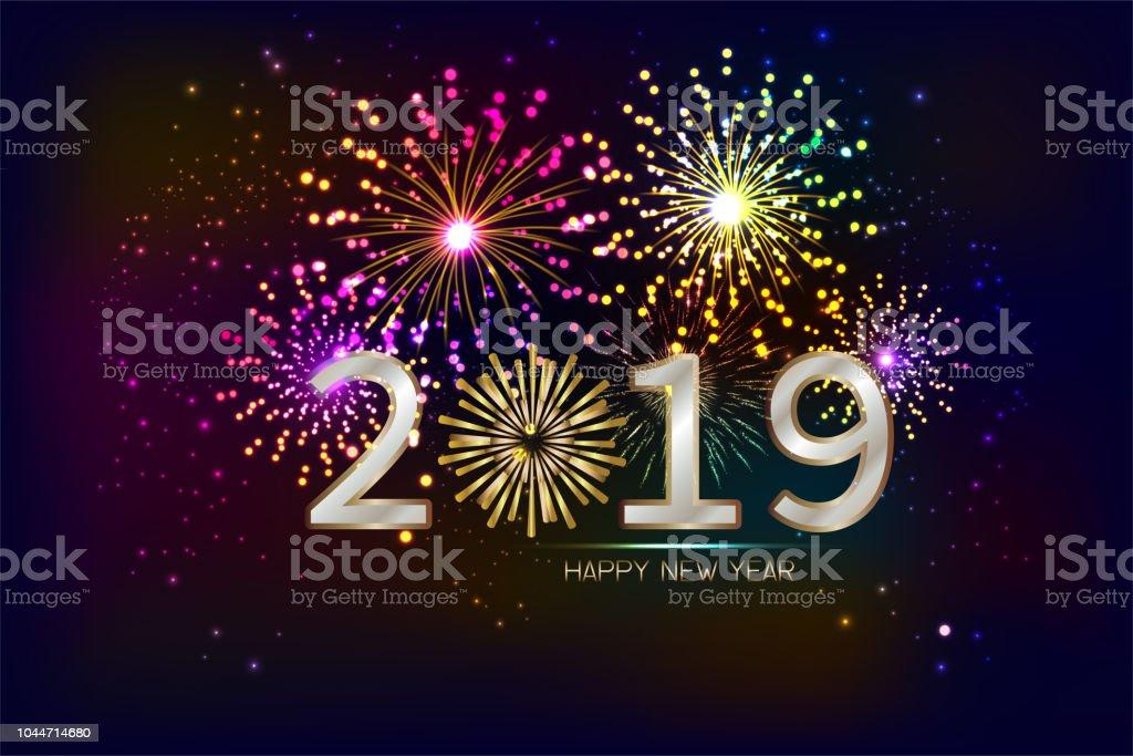 Ilustracion De Feliz Ano Nuevo 2019 Con Fondo De Fuegos Artificiales