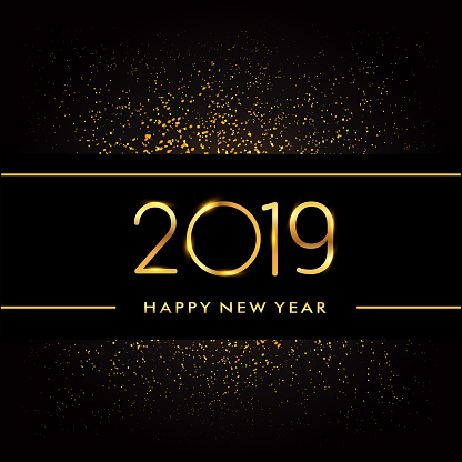 Happy New Year 2019 with glitter isolated on black background, text design gold colored