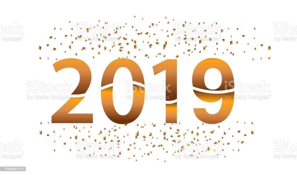 Ilustración De Feliz Año Nuevo 2019 Con Brillo Aislado Sobre Fondo