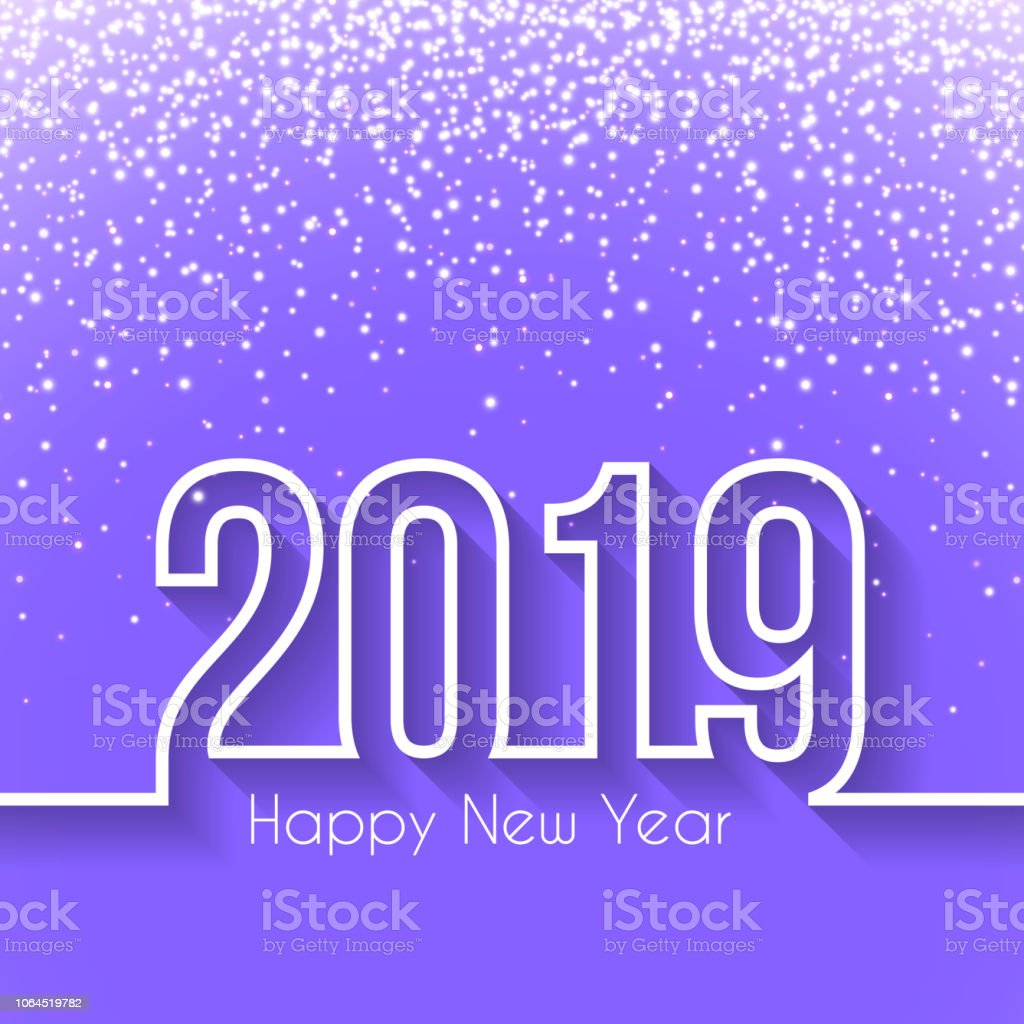 happy new year 2019 with gold glitter flat design long shadow royalty free