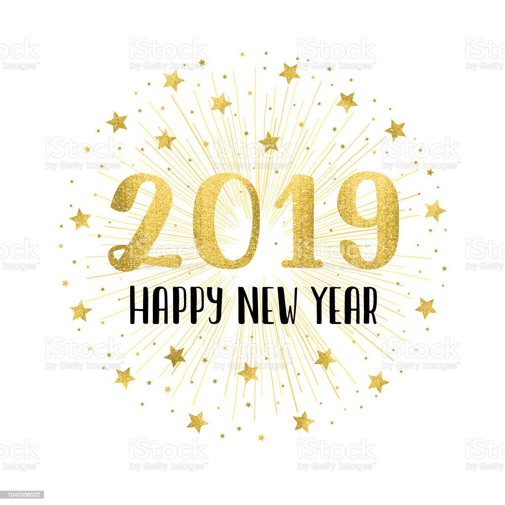 Happy new year 2019 with golden fireworks vector art illustration