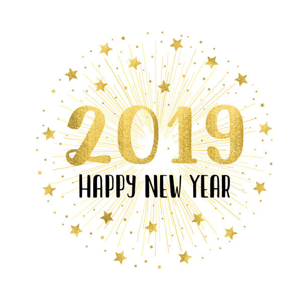 happy new year 2019 with golden fireworks - new years eve stock illustrations, clip art, cartoons, & icons