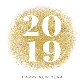 Happy New Year 2019 with golden glitter