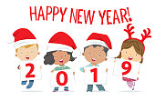 Vector Happy new year 2019 with kids funny