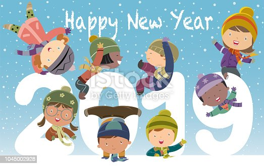 Vector Happy new year 2019 with kids