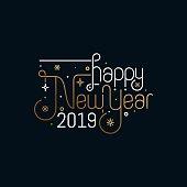 Happy new year 2019 celebration greeting card