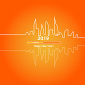 Happy new year 2019 with an Abstract City Skyline with Loading Bar. Vector.