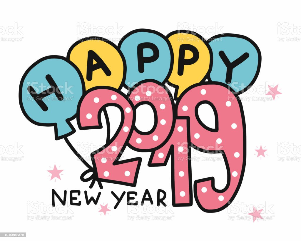 happy new year 2019 word and balloon vector illustration royalty free happy new year 2019