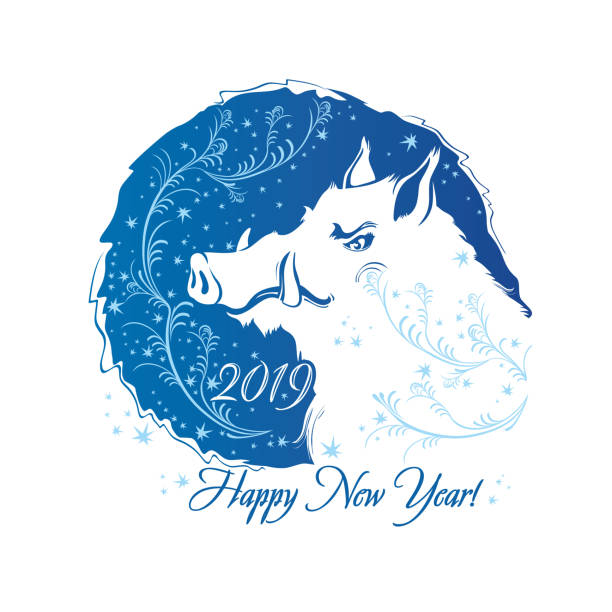 happy new year 2019 year of pig year of boar blue round frosty pattern
